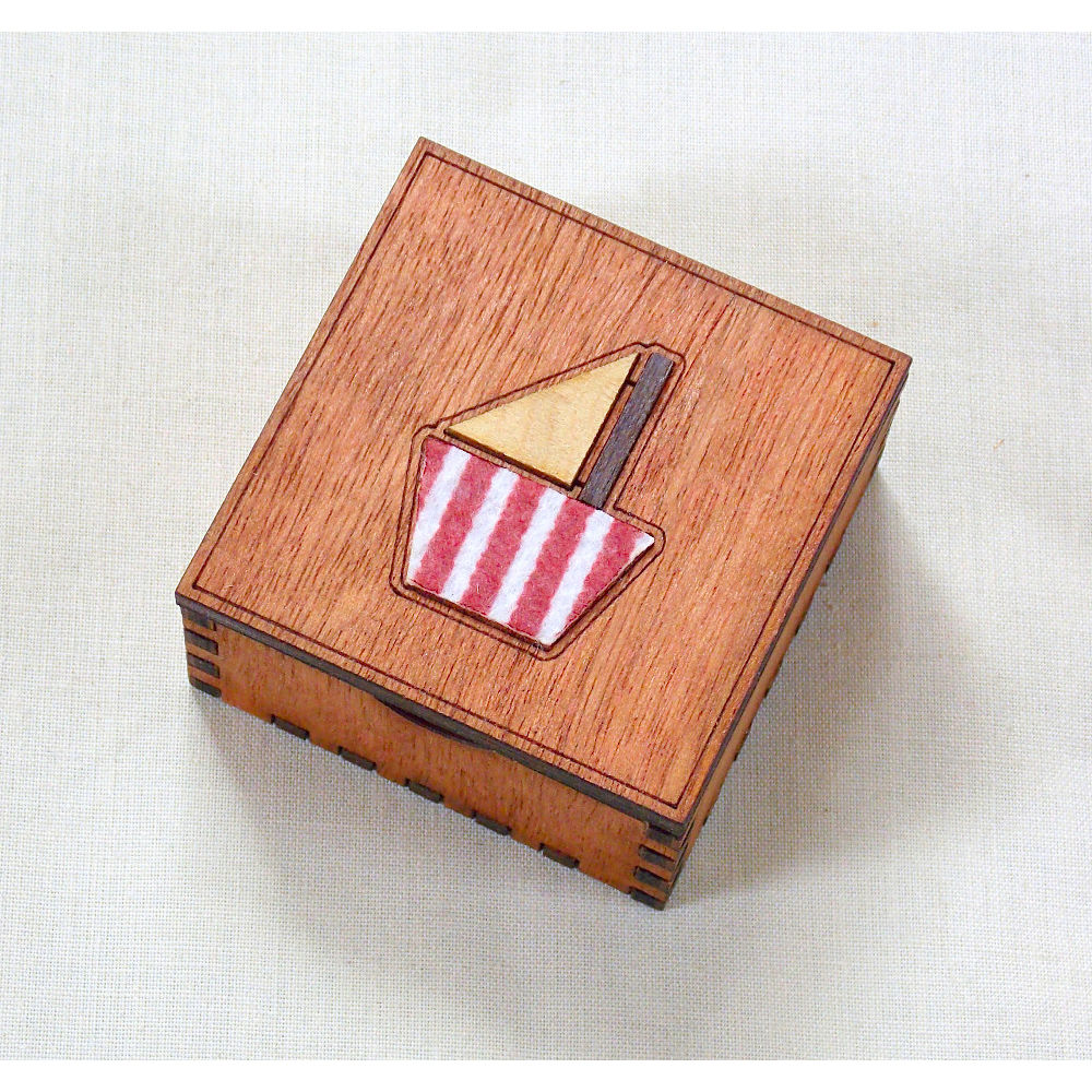 Small boat box (stripey felt) - product image