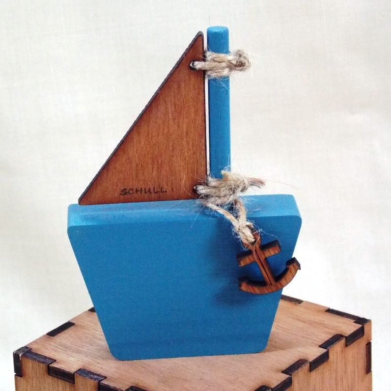 Personalised Small Wooden Sail Boat - product images  of