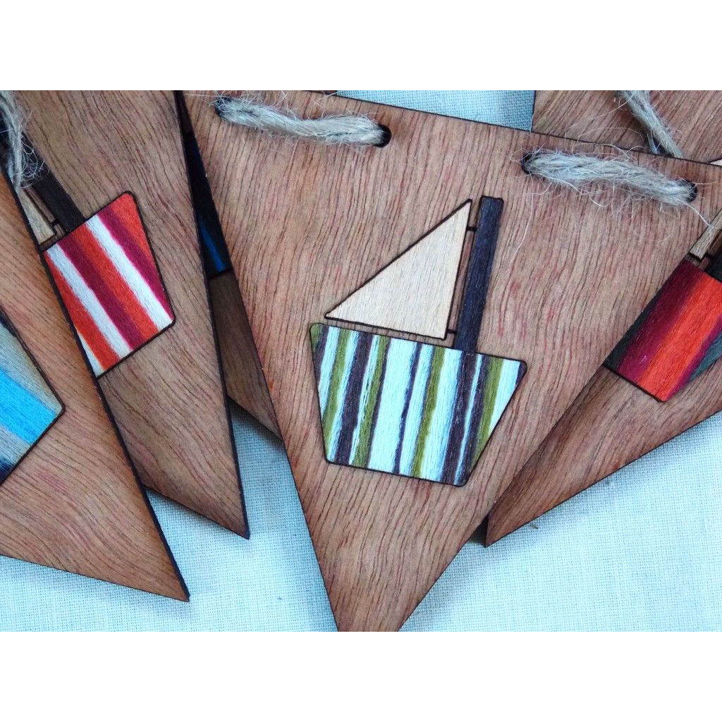 Wooden Boat Bunting-Wood Veneer - product images  of