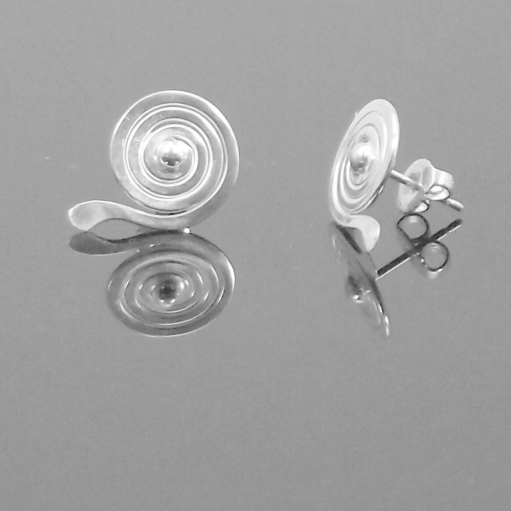 Handmade silver 'spiral drop' stud earrings - product image