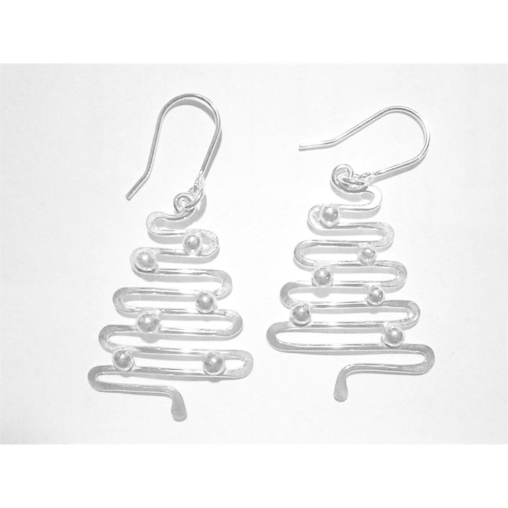 Handmade silver 'Christmas Tree' earrings - product image