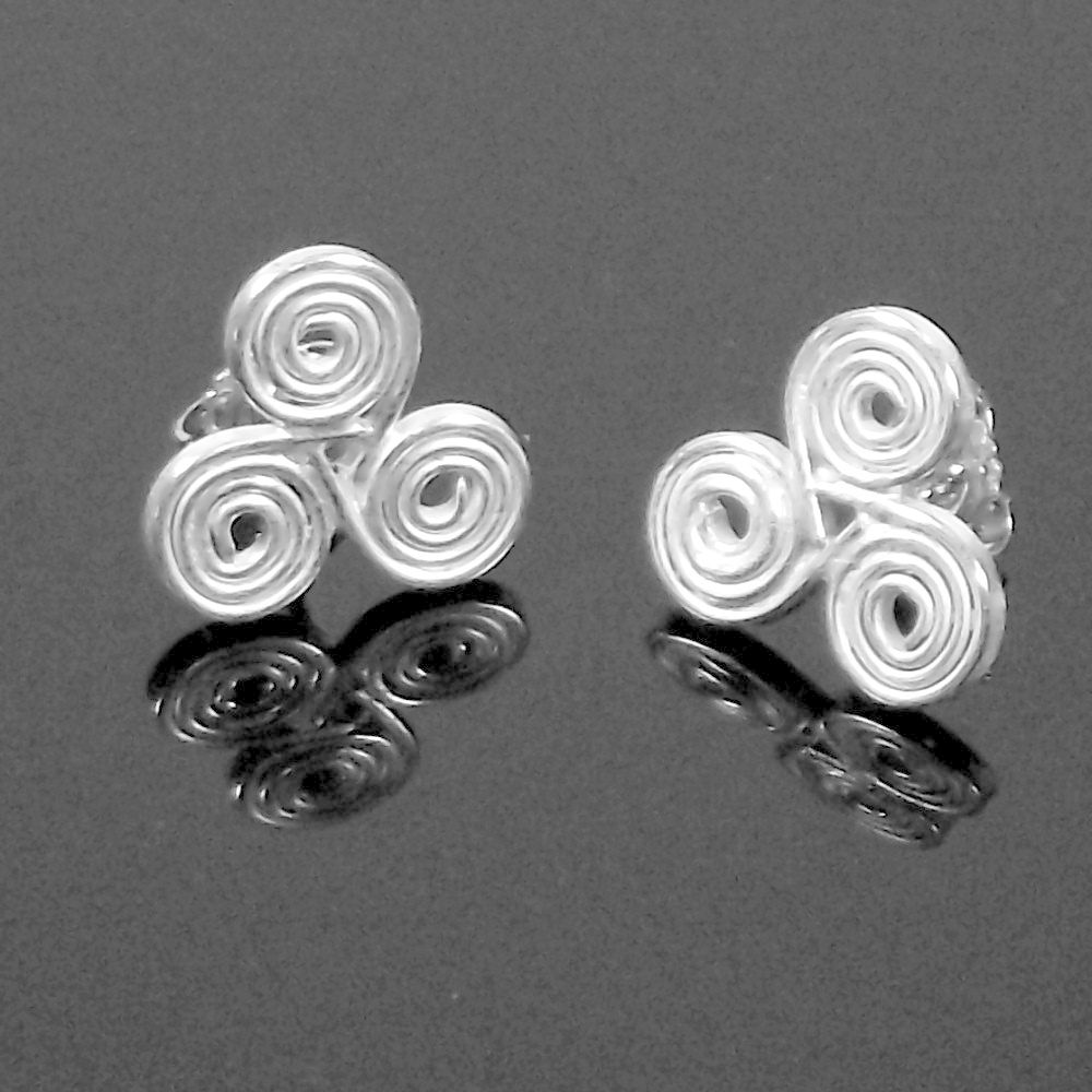 Handmade silver 'triple spiral' stud earrings - product images  of
