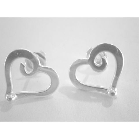 Handmade,'heart',stud,earrings,silver stud earrings, silver heart, norbert abel, west cork crafts