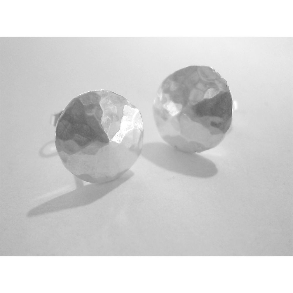 Handmade silver 'nugget' stud earrings - product images  of