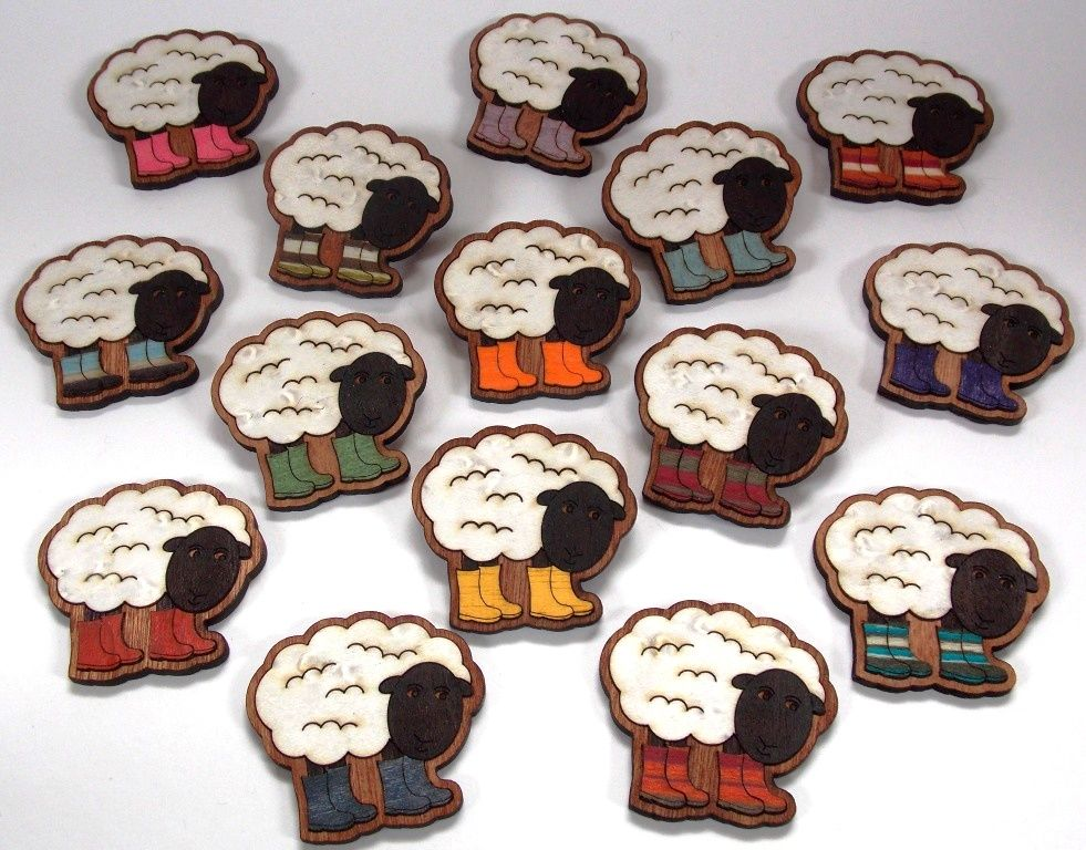 Sheep in Wellies Brooch/Magnet - product images  of