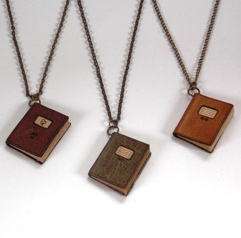 Miniature,Leather,Book,Necklaces,leather, miniature book, necklace, rossbrin creative, west cork
