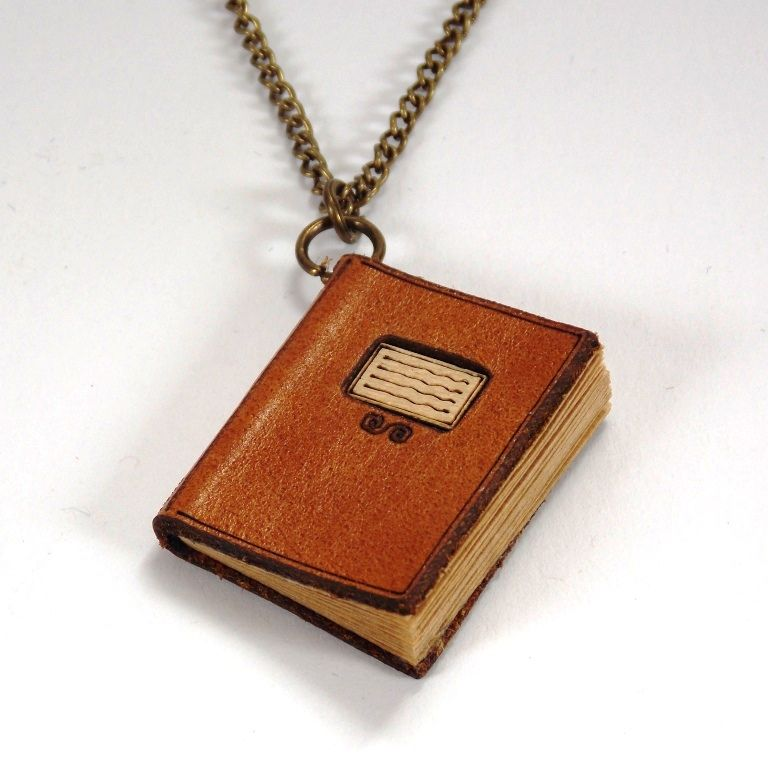 Miniature Leather Book Necklaces - product images  of