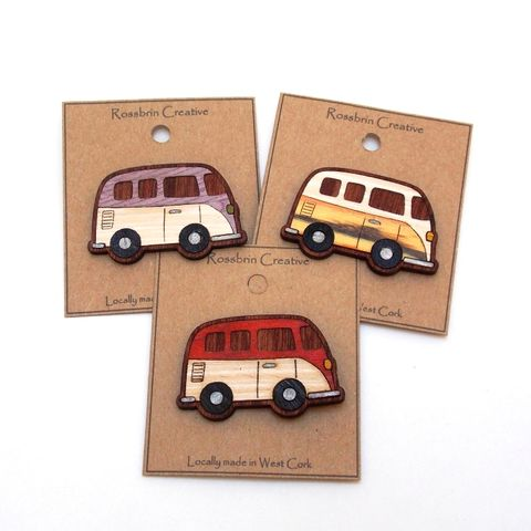 Camper,Van,Badge,Campervan, Wooden Badge, Wood Veneer, rossbrin creative, west cork