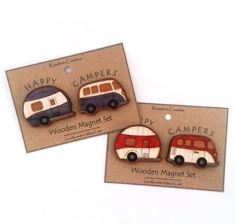 Happy,Campers,-,Magnet,Set,Campervan magnet, caravan magnet, wooden magnet, Wood Veneer, rossbrin creative, west cork