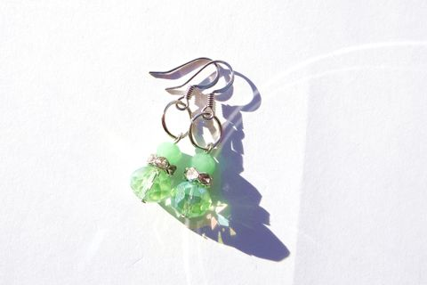Sparkly,Green,Drop,Earrings,green drops, dangle earrings, Native American, Handmade, ndnchick