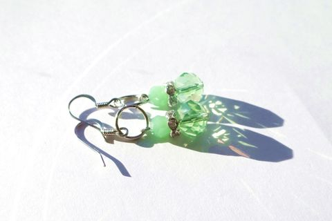 Sparkly Green Drop Earrings - product images  of