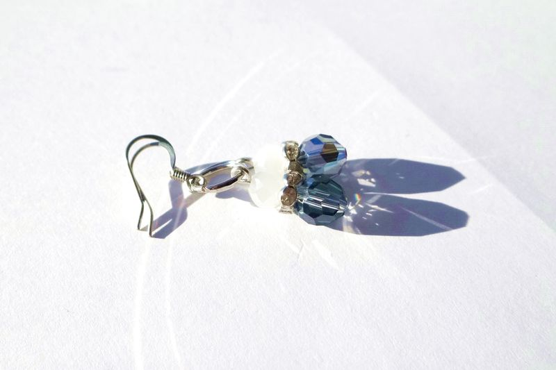Petite Blue & White Dangle Earrings - product images  of