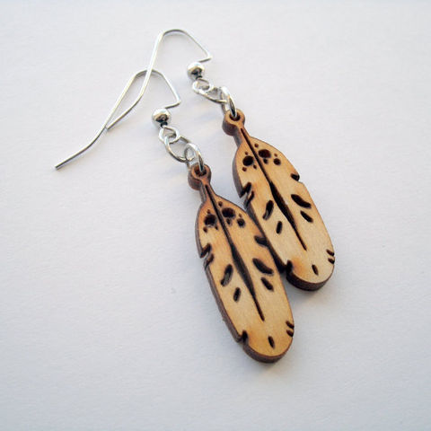 Wood,Feather,Earrings,wood, feathers, earrings, ndnchick, baltic birch, Native American