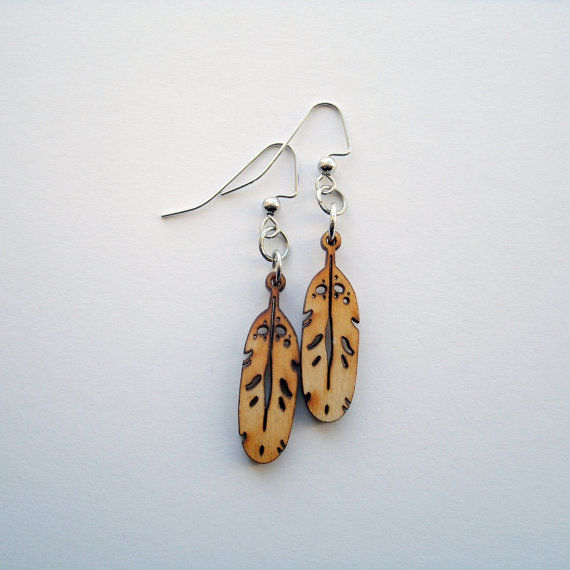 Wood Feather Earrings - product images  of