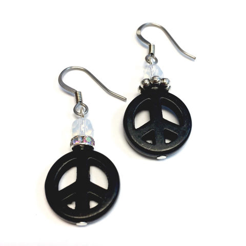 Black,Peace,Sign,Earrings,Jewelry,peace_symbol,peace_sign,black,earrings,Peace_Earrings,ndnchick,Native_American,dangle_earrings,Black_Friday,Cyber_Monday