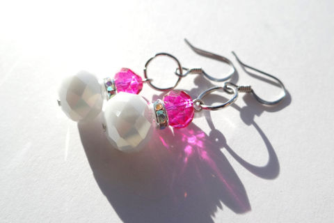 White,&,Pink,Earrings,Weddings,Jewelry,Native_American,Bridal_Earrings,Wedding_Earrings,Bridesmaid_Earrings,Simple_Earrings,Elegant,Junior_Bridesmaid,Flower_Girl,Prom,girls_night,homecoming,pink_wedding,white_wedding,glass beads,surgical steel