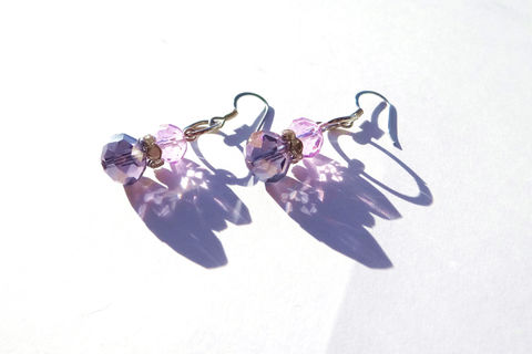 Purple,Drop,Earrings,Jewelry,Native_American,Wedding_Earrings,Simple_Earrings,homecoming,ndnchick,affordable,purple,lavender,drop_earrings,cotton_candy,prom,handmade_earrings,bridal_earrings,glass beads,surgical steel