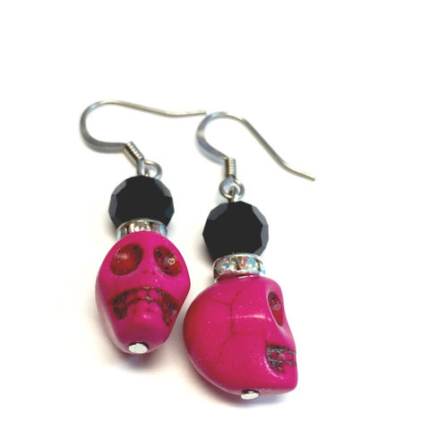 Pink,Skull,Earrings,Jewelry,pnk,skull,earrings,ndnchick,native_american,Pink_Skull,Skull_Earrings,Hot_Pink,Neon_Pink,Leanna,Value_Earrings,Affordable,costume_jewelry