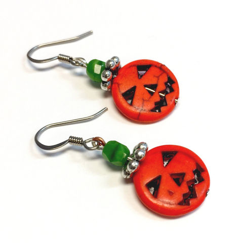 Pumpkin,Earrings,Jewelry,pumpkin,punkin,jack_o_lanter,halloween,smiley,ndnchick,dangle_earrings,Native_American,Orange,value_jewelry,cheap_earrings,leanna,Fall_Earrings