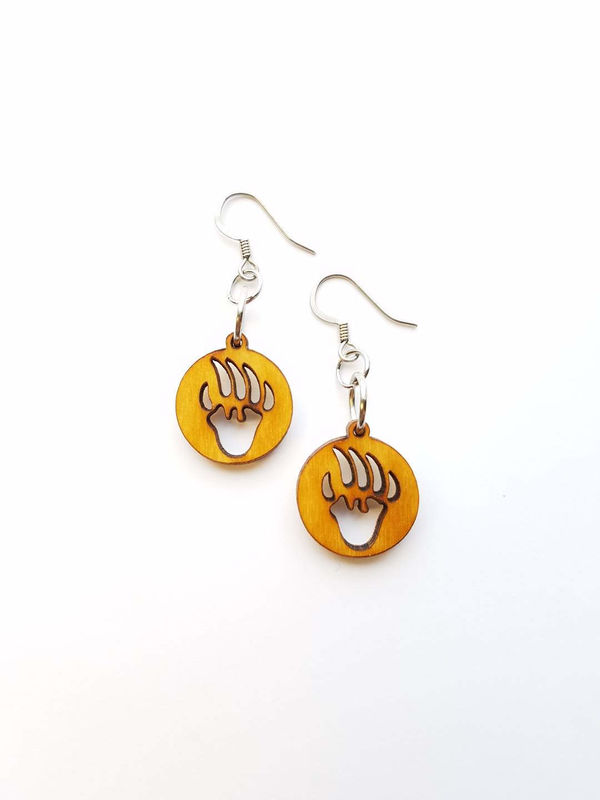 Wood Bear Paw Earrings - product images  of