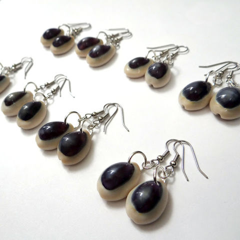 Cowrie,Shell,Earrings,cowrie shell, cowry shell, earrings, dangle, purple, natural, shells, ndnchick, native american