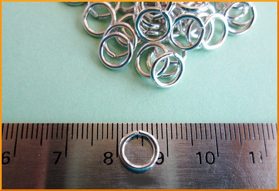 10 Packs of 100 Aluminum Open Jump Rings 16 Gauge 8mm Lightweight Shiny Silver Tone - product image