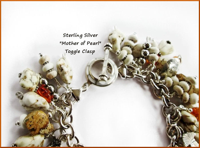 Sterling Silver Moonstone Heart Charm Bracelet - product image