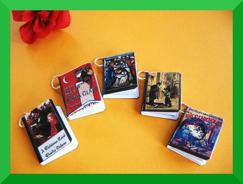 Set,of,5,Christmas,Classics,Miniature,Book,Charms,Jewelry, charms, christmas, nativity, santa claus, scrooge, dickens, classics, christmas eve, gift tags, miniature books, mini books, night before