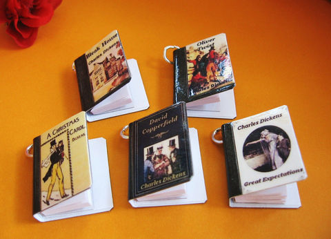 Classics,Theme,-,Set,of,Five,Miniature,Book,Charms,Jewelry, charms, books, miniature, dickens, literature, christmas, oliver twist, a christmas carol, great expectations, party favors, gift tags, charles dickens