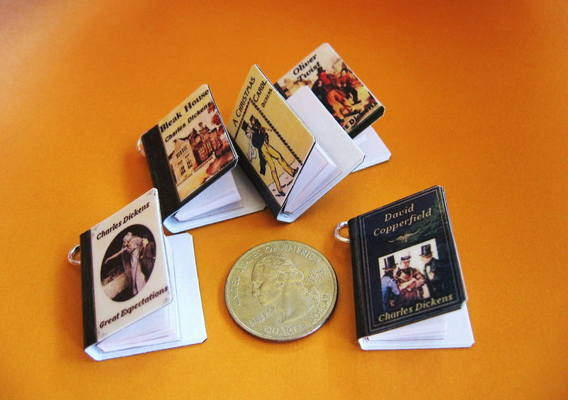 Classics Theme - Set of Five Miniature Book Charms - product image