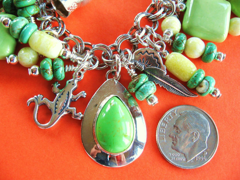 Southwestern Petroglyph Charm Bracelet - Sterling Silver - Lime Green - product image