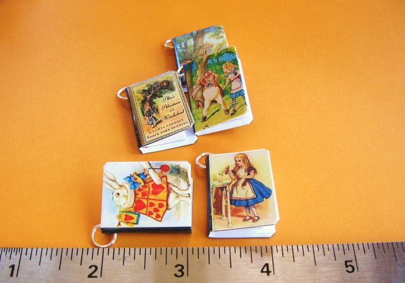 Miniature Book Charms / Pendants Alice in Wonderland Set of Five - product image