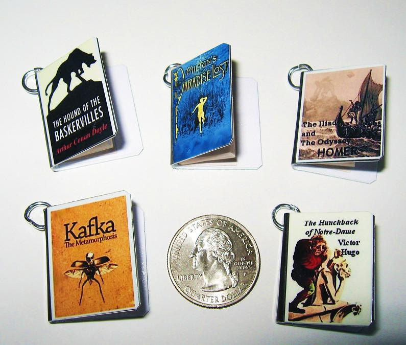 Authors Book Marketing - Book Signing Promotions - Set of 5 Custom Miniature Book Charms -Includes all 5 - Goodie Bag Item - product image