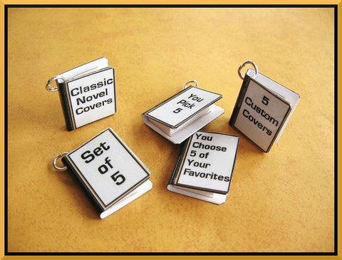 Authors,/,Writers,Your,Book,Cover,-,5,Custom,Miniature,Pendant,Charms,Includes,all,Jewelry, Pendant, charms, miniature, books, wine glass charms, party favors, miniature books, mini books, book jewelry, book pendants, literature, library, custom, authors