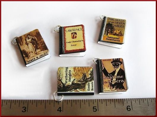 Authors / Writers Your Book Cover - 5 Custom Miniature Book Pendant / Charms -  Includes all 5 - product image