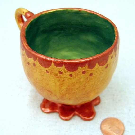 Handmade Paper Mache Teacup, Green and Gold Decorative Vessel: Spiro - product images  of