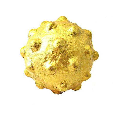 Big,Gold,Paper,Mache,Ball,,Rustic,Decorative,Knobbly,Papier,Orb,Sculpture:,Horny,Ball,paper mache products, handmade paper mache accents, recycled home decor, gold paper mache object, big bumpy accent ball, handmade papier mache, unbreakable decor objects