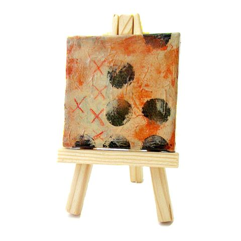 Miniature,Original,Abstract,Acrylic,Painting,on,2x2,Canvas,with,Easel:,Late,Sky,mini pastel abstract painting, mini painting with easel, miniature abstract painting on canvas, tiny square painting, original abstract painting, collectible painting, original painting, small pink painting with easel