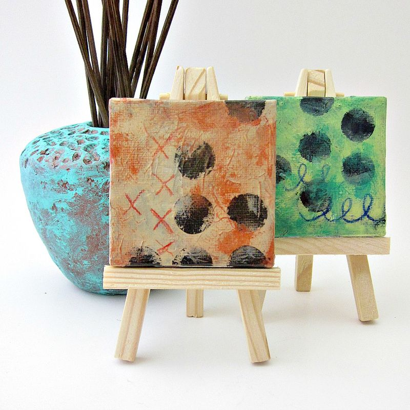 Miniature Original Abstract Acrylic Painting on 2x2 Canvas with Easel: Late Sky - product images  of