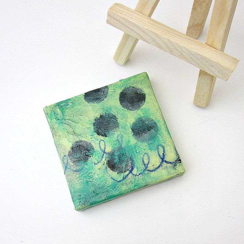 Miniature Original Abstract Acrylic Painting on 2x2 Canvas with Easel: Soft Sea - product images  of