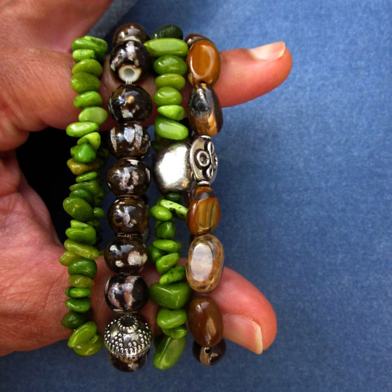 Set of Four Beaded Stretch Bracelets with Stone and Ceramic Beads: Papua - product images  of