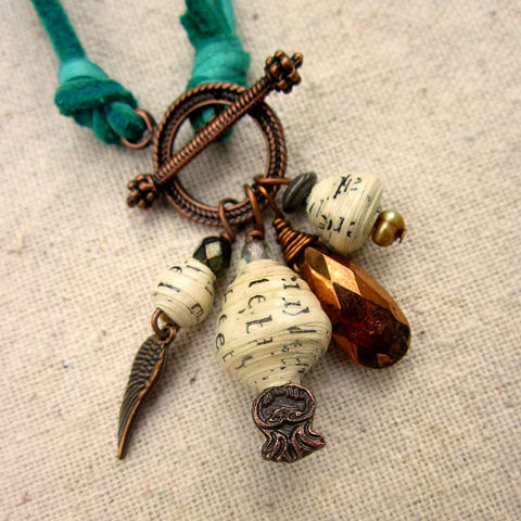 Convertible,Necklace,,Aqua,Green,Suede,Cord,Necklace,and,Bracelet,with,Paper,Bead,Glass,Charms:,Kendall,Jewelry,Beaded,paper_bead_necklace,simple_necklace,paper_bead_jewelry,charm_necklace,pendant_necklace,suede_cord_necklace,convertible_necklace,suede_cord_bracelet,long_cord_necklace,charm_bracelet,aqua_suede_jewelry,beads_and_charms,colorful_cord