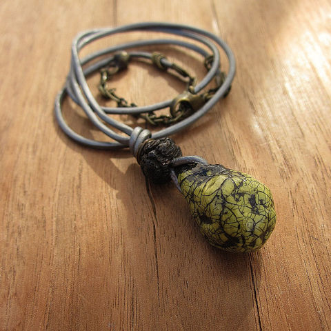 Unisex,Leather,Cord,Necklace,with,Green,Paper,Mache,Pendant:,Fossil,Jewelry,pendant_necklace,paper_mache_necklace,papier_mache_necklac,adjustable_necklace,rustic_necklace,recycled_jewelry,eco_friendly_jewelry,salvaged_paper_neckl,unisex_necklace,mens_necklace,leather_cord_necklac,crackled_pendant_nec,green_pendan
