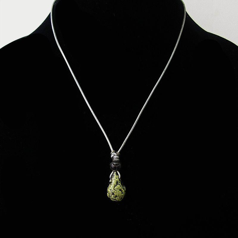 Unisex Leather Cord Necklace with Green Paper Mache Pendant: Fossil - product images  of