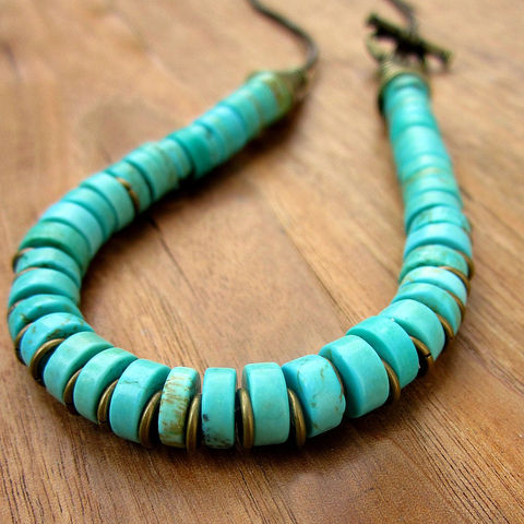 Beaded,Necklace,with,Dyed,Howlite,Stone,on,Leather,Cord,and,Side,Clasp:,Amazon,Jewelry,beaded_necklace,collar_necklace,flexible_choker,bib_necklace,blue_howlite_necklac,howlite_necklace,side_clasp_necklace,brass_necklace,leather_cord_necklac,blue_necklace,stone_necklace,disk_necklace,earthy_necklace,rustic brass fini
