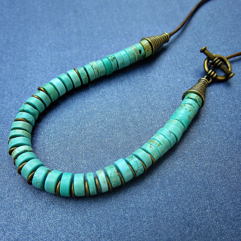 Beaded Necklace with Dyed Howlite Stone on Leather Cord and Side Clasp: Amazon - product images  of
