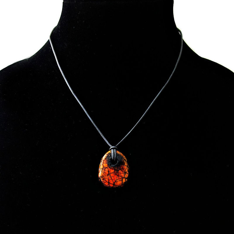 Unisex Pendant Necklace, Lightweight Recycled Orange Paper Mache Pendant on Gunmetal Gray Leather Cord: Beetle - product images  of