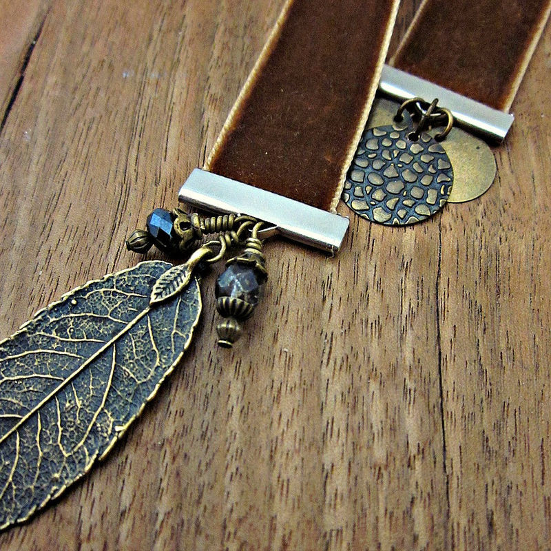 Beaded Brown Velvet Ribbon Bookmark with Charms: Vera - product images  of