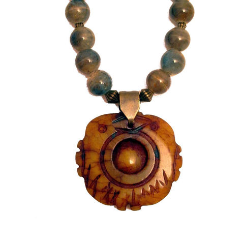 Beaded,Stone,Pendant,Necklace,with,Wood,and,Ceramic,Beads:,Koi,Jewelry,pendant_necklace,beaded_necklace,adjustable_necklace,big_pendant_necklace,gray_necklace,gray_and_brown,koi_fish_necklace,ceramic_bead_necklac,wood_bead_necklace,neutral_color_neckla,carved_pendant,bohemian_necklace,asian_inspired,ru