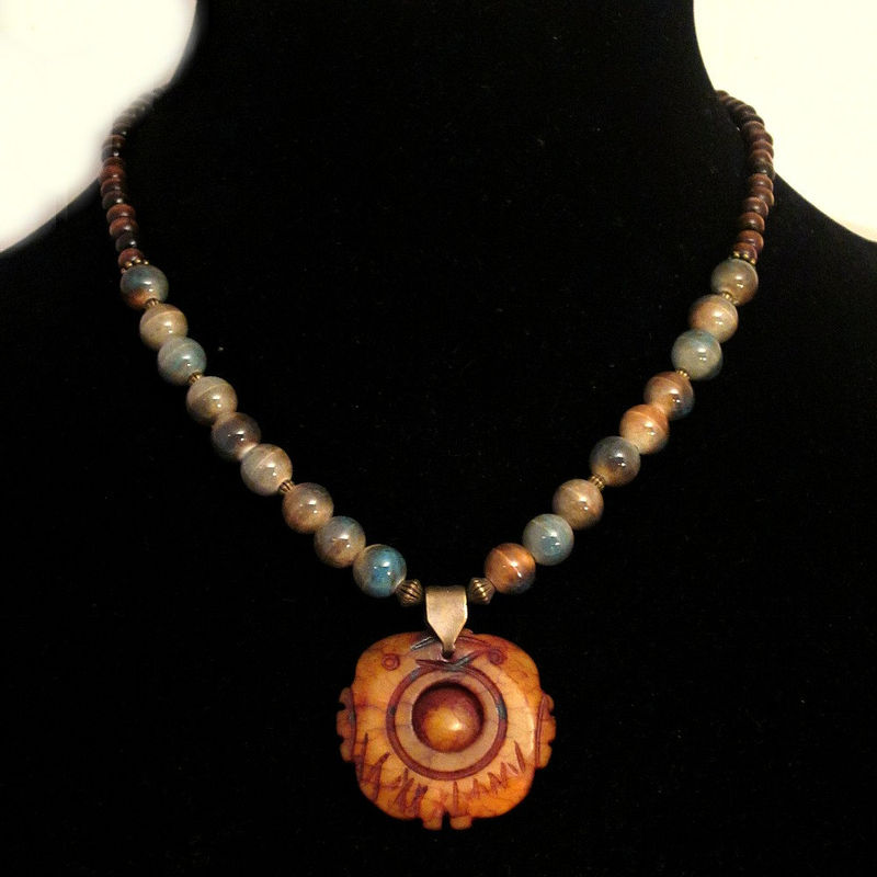 Beaded Stone Pendant Necklace with Wood and Ceramic Beads: Koi - product images  of